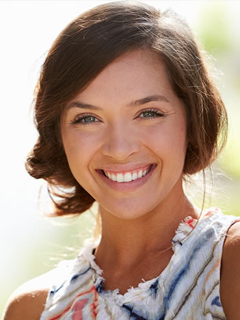 white teeth of woman who used dental bonding