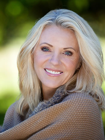 white teeth of woman overcoming gum disease