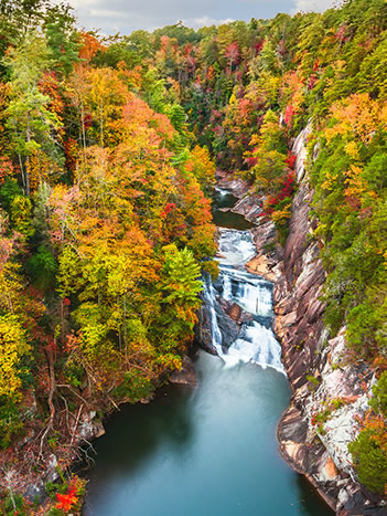autumn landscape of a river in a canyon
